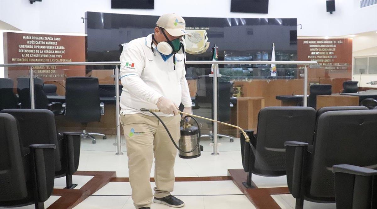 Sanitizan edificios del Poder Legislativos de BCS