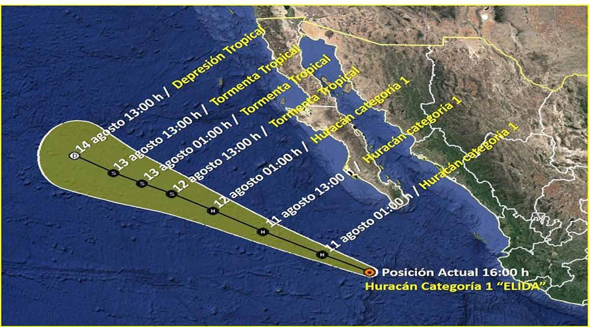 """Se intensifica """"Elida"""" a huracán categoría 1"""