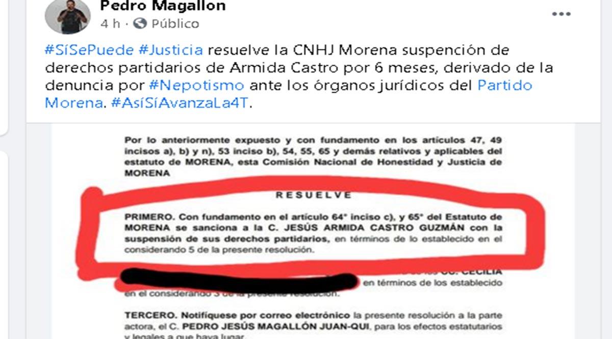 Armida Castro pierde derechos partidarios en Morena; son denostaciones, responde
