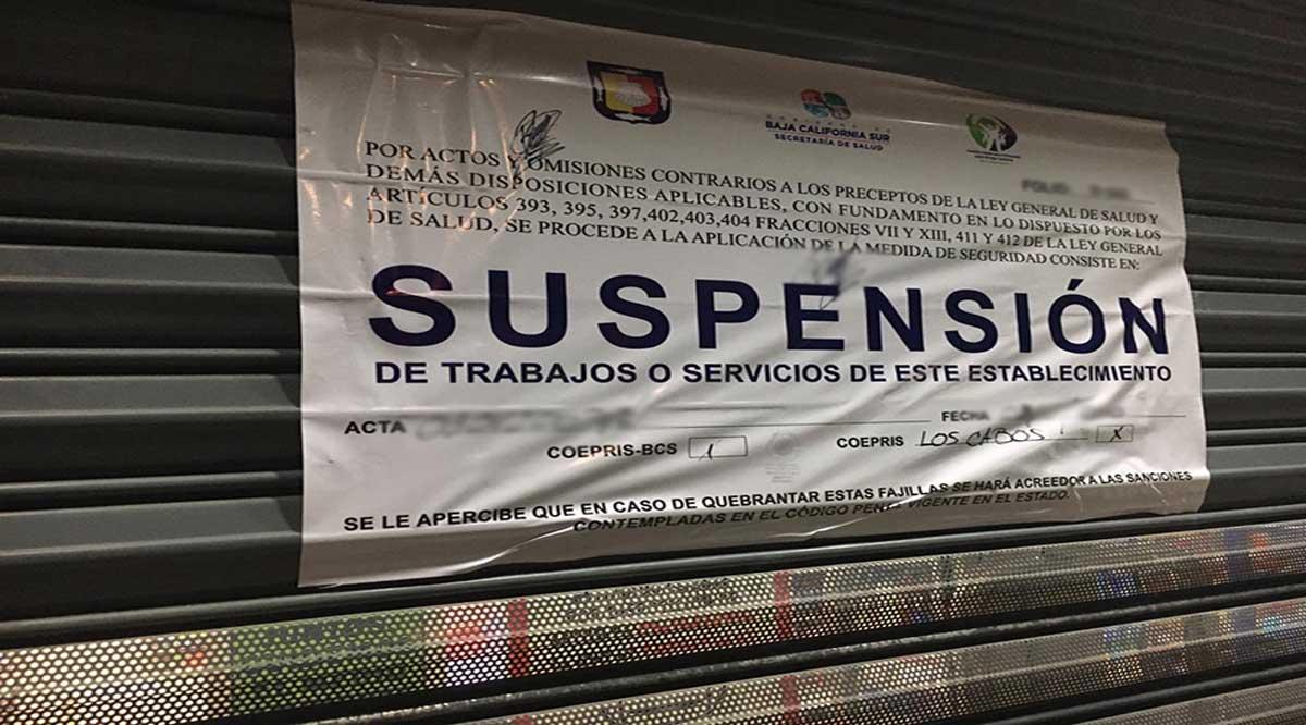 Suspenden comercios en Los Cabos por incumplir protocolos sanitarios