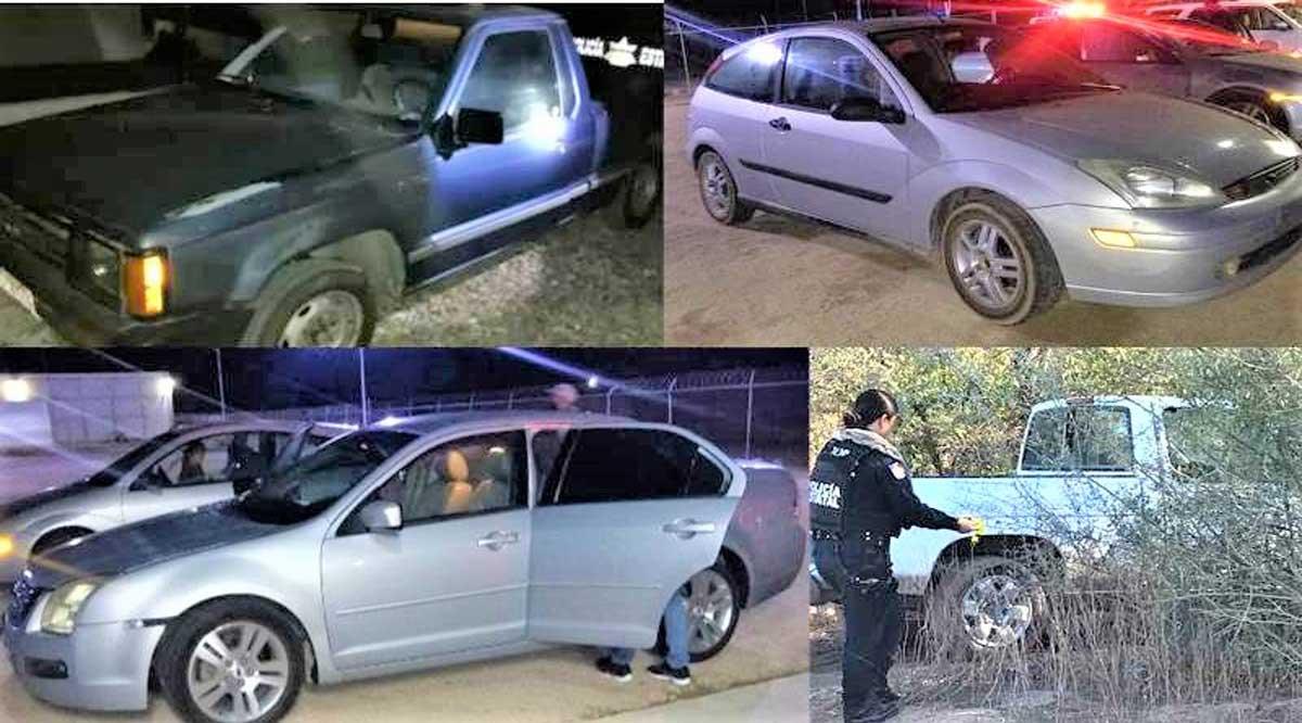 Retienen 2 vehículos sin documentación y localizan 2 con reporte de robo en La Paz
