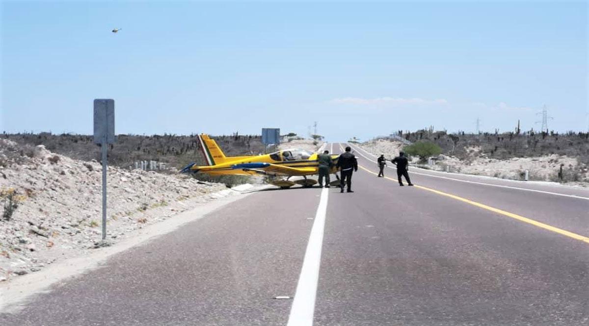 Aterrizó de emergencia una avioneta sobre la carretera