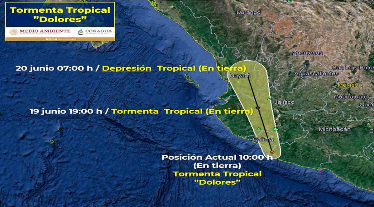 """Se localiza en tierra la tormenta tropical """"Dolores"""""""