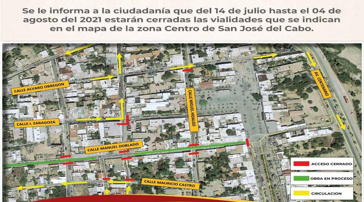 Cerrarán por 22 días las calles Ignacio Zaragoza y Miguel Hidalgo en SJC