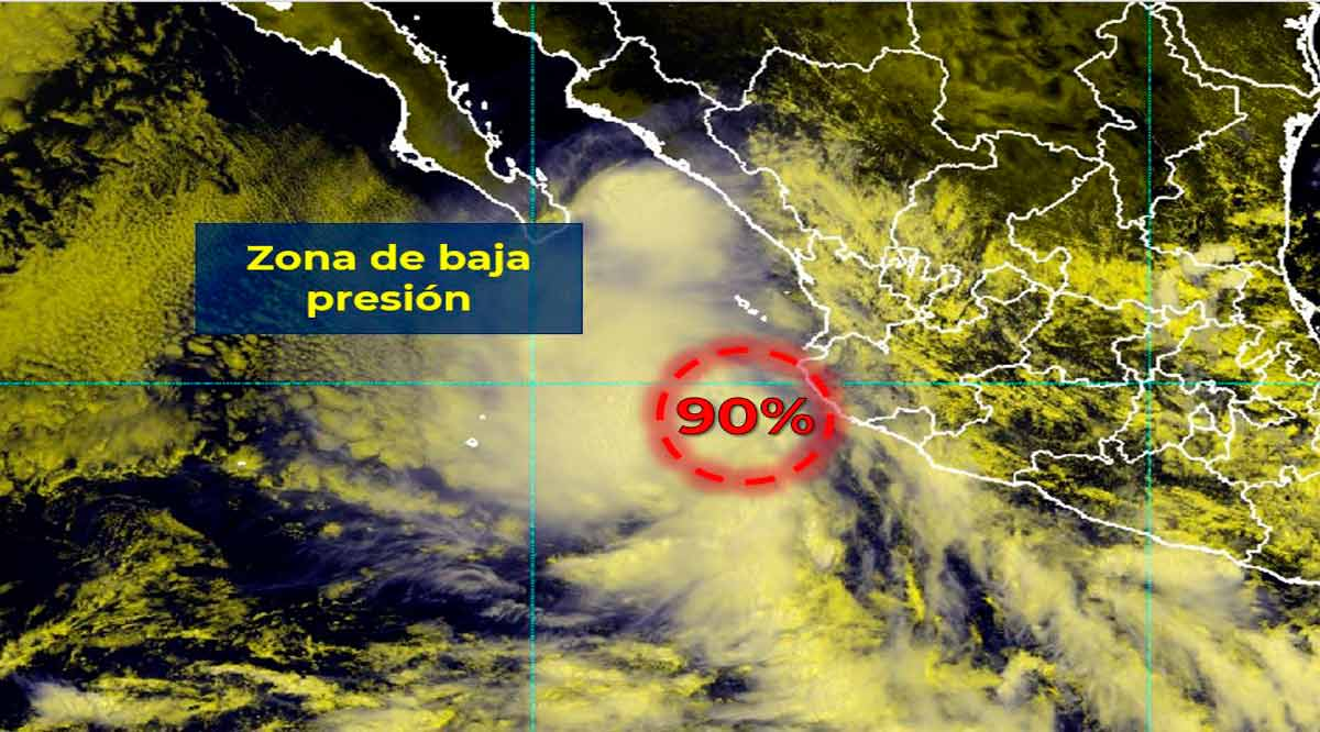 Incrementa zona de baja presión a 90% de probabilidad para desarrollo ciclónico