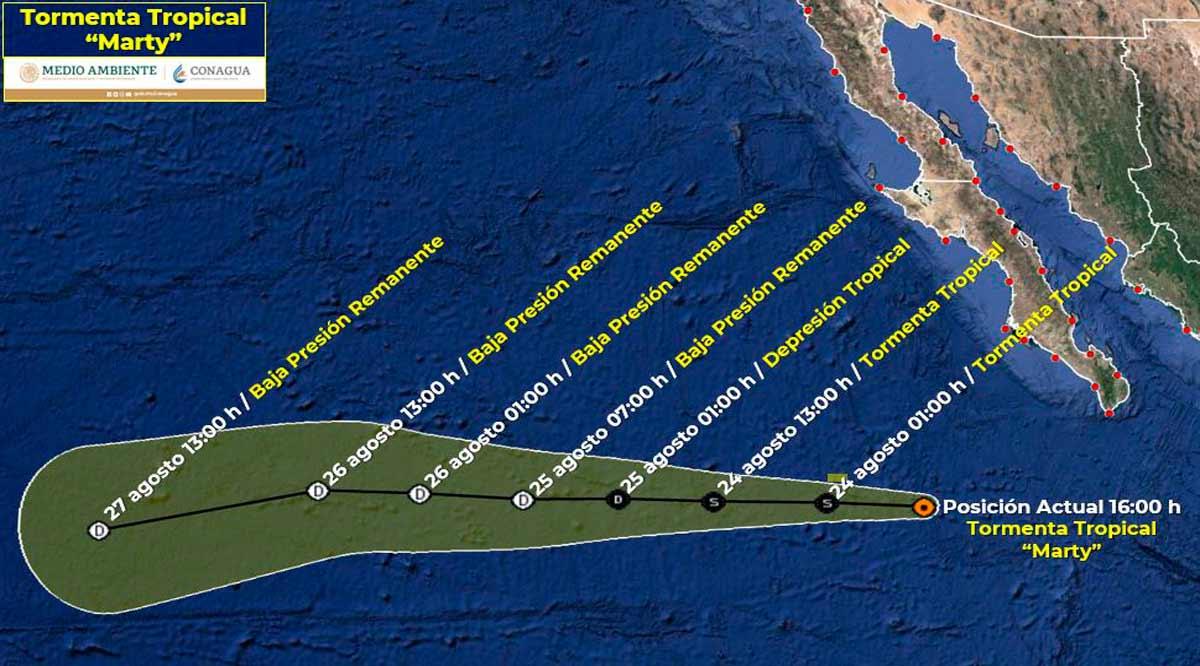 """Se aleja la tormenta tropical """"Marty"""" a 485 km de CSL"""