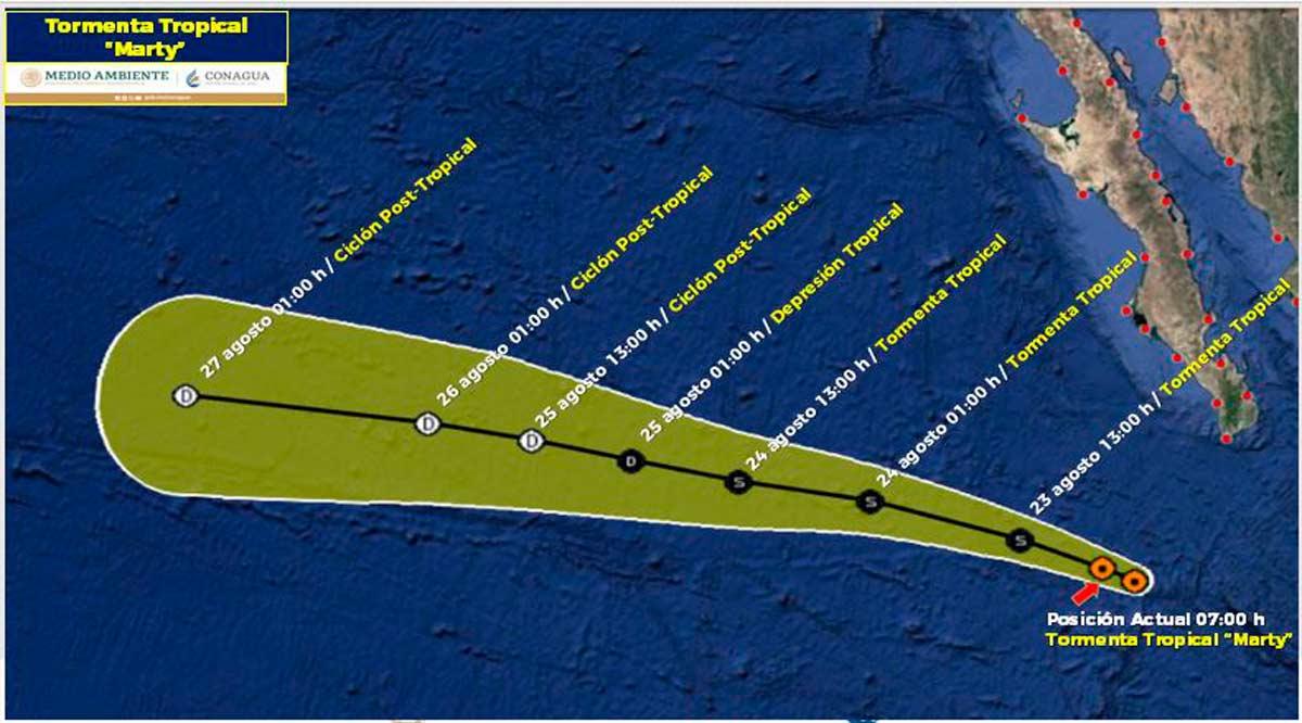 """Se ubica a 350 km de CSL la tormenta tropical """"Marty"""""""