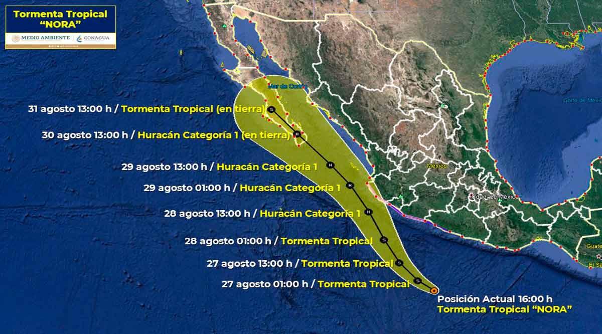 """Sigue avanzando la tormenta tropical """"Nora"""" rumbo a BCS"""
