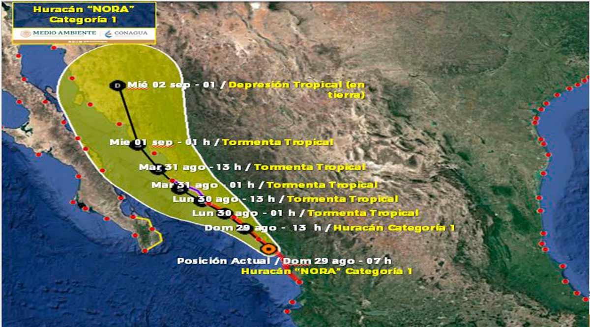 """Se ubica el huracán """"Nora""""  a 385 km de CSL"""