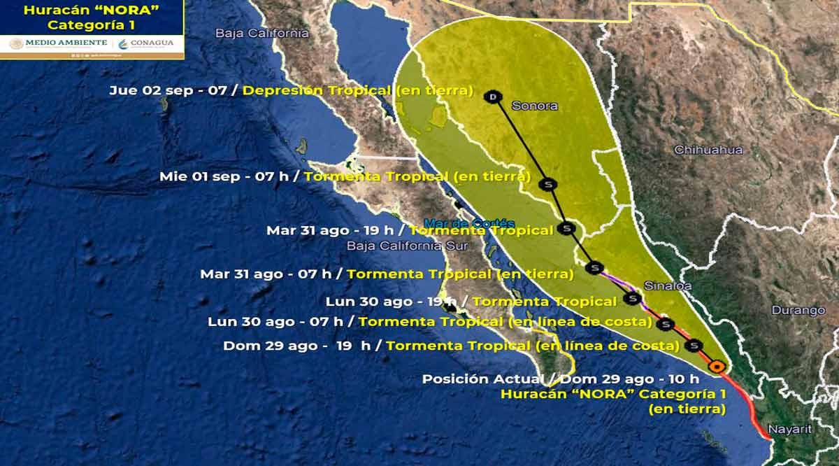 """Se acerca el huracán """"Nora"""" a 360 km de CSL"""