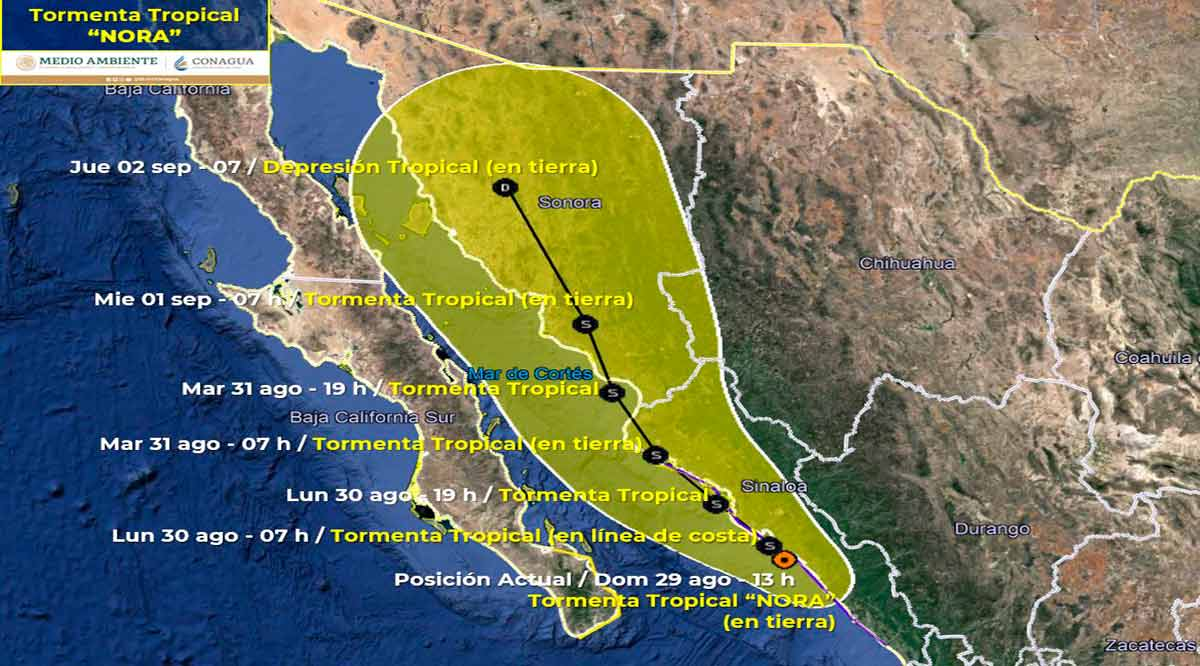 "Se degrada ""Nora"" a tormenta tropical y ubica a 300 km de CSL"