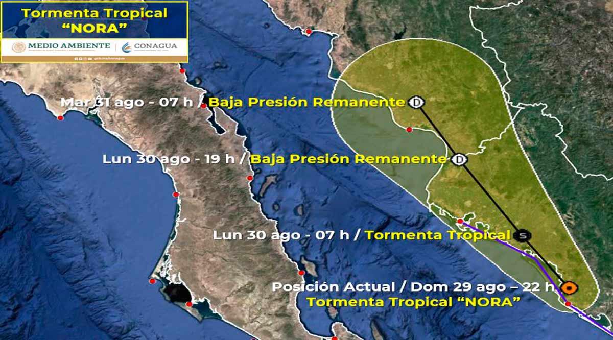 """La tormenta tropical """"Nora"""" se localiza en tierra sobre el noroeste de Sinaloa"""