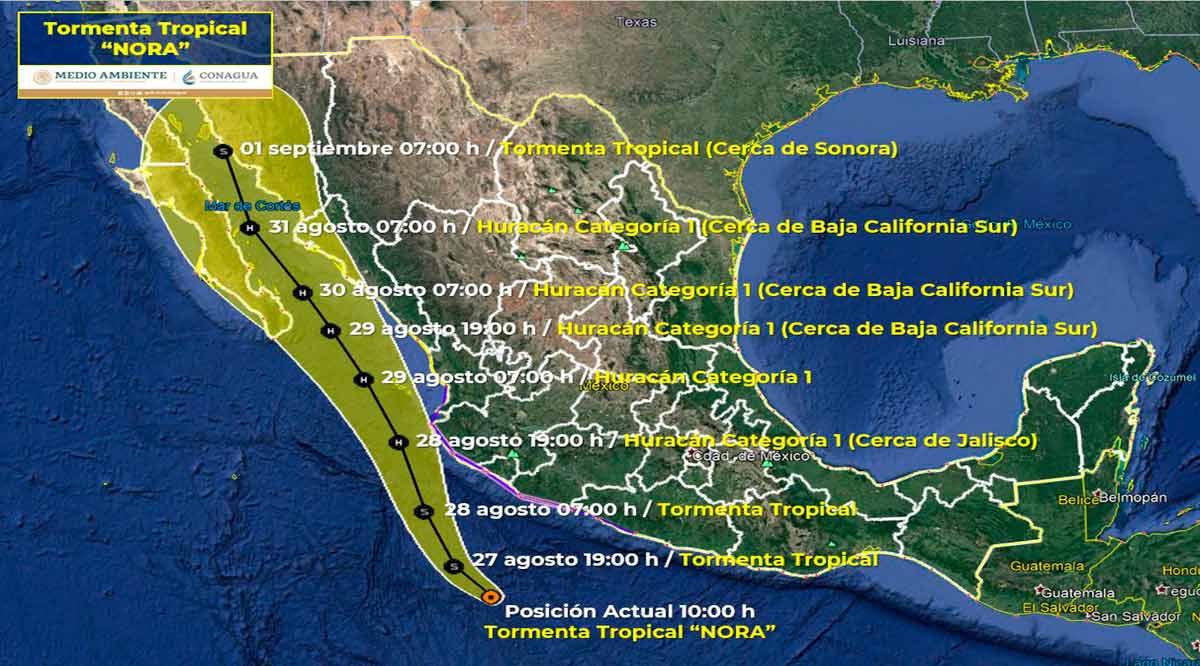 """Incierta trayectoria de la tormenta tropical """"Nora"""""""