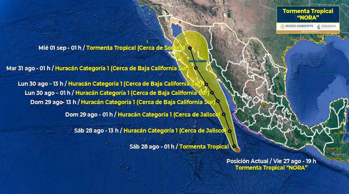 """Se intensifica la tormenta tropical """"Nora"""" y se convertirá en huracán"""