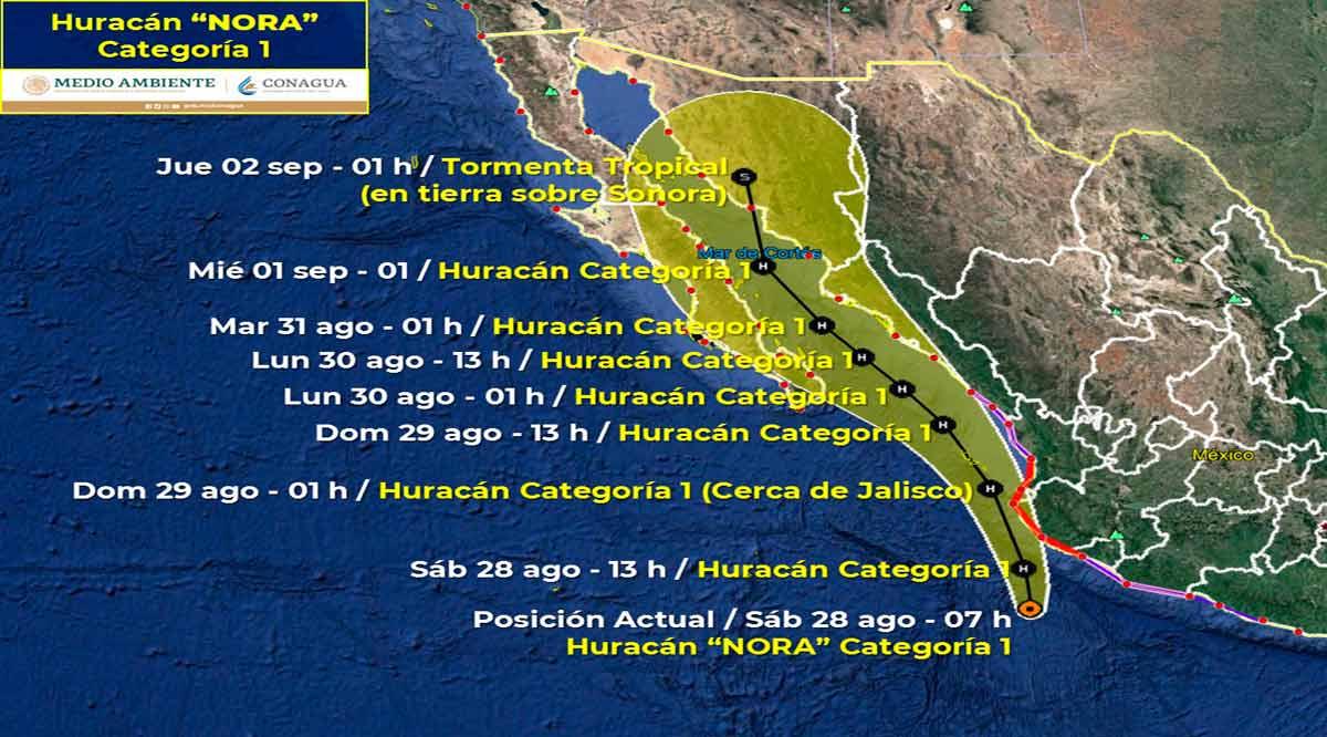 "Se ubica el huracán ""Nora"" categoría 1 a 740 km de CSL"
