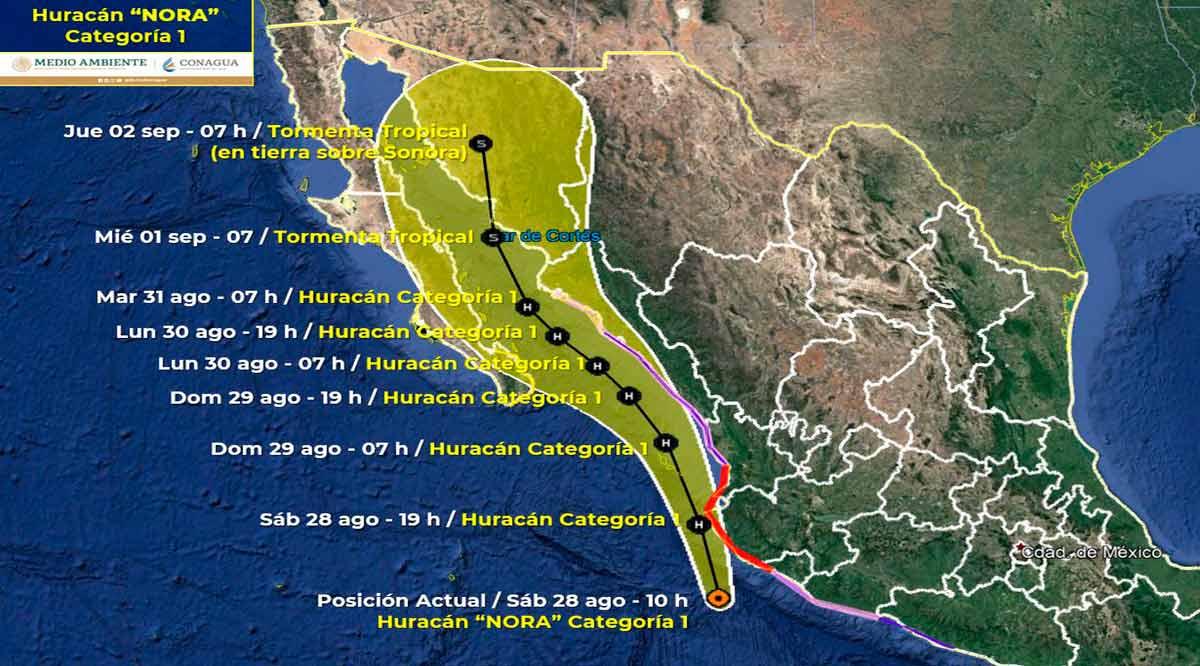 """Se acerca el huracán """"Nora"""" categoría 1 a 685 km de CSL"""