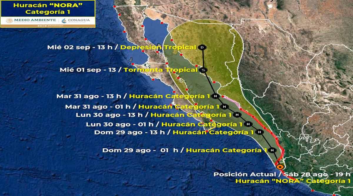 """El huracán """"Nora"""" afecta a entidades del noroeste del país y se acerca a BCS"""