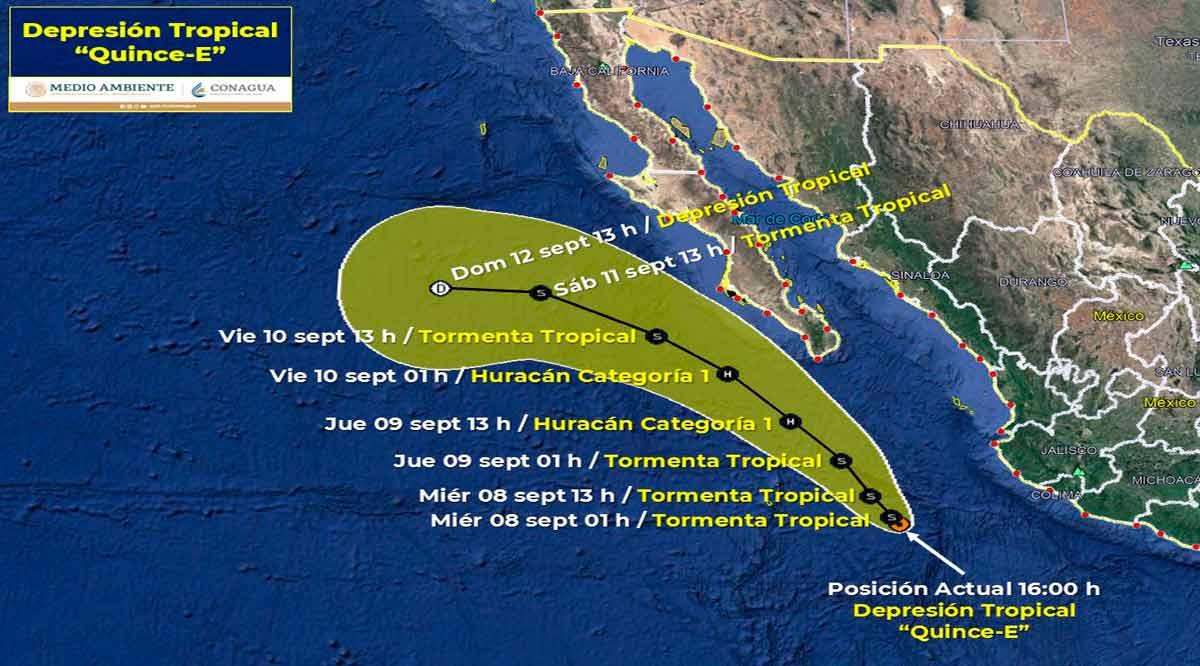 Depresión tropical 15-E a 560 km de CSL