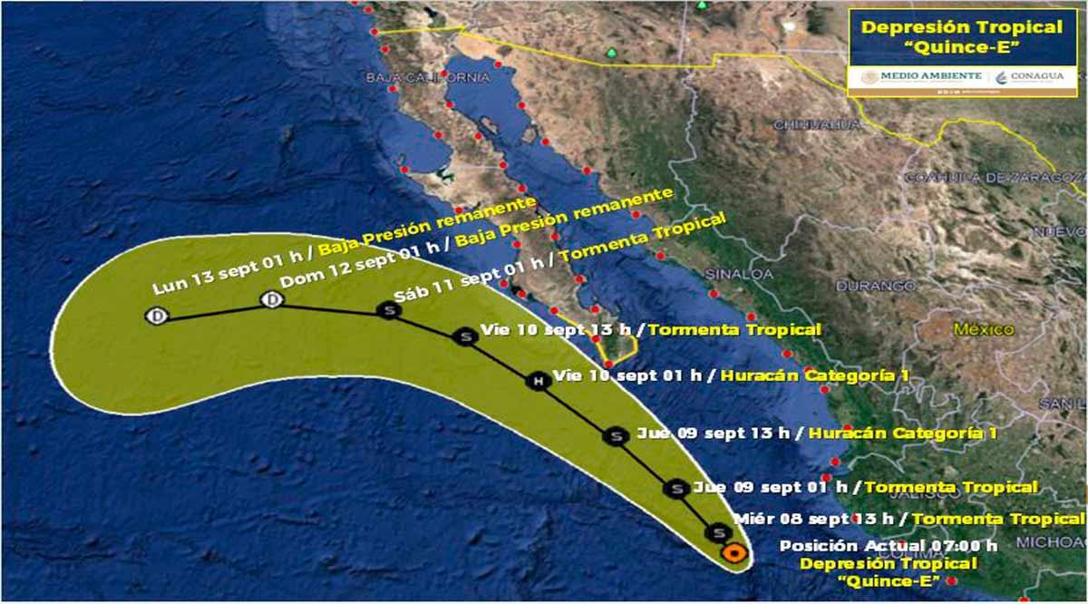Se ubica a 540 km de CSL la depresión tropical 15-E