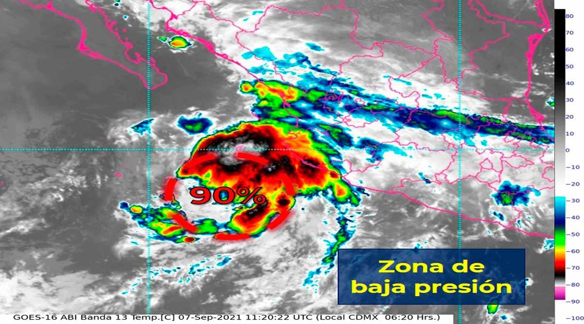 Zona de baja presión tiene 90% de probabilidad para desarrollo ciclónico en el Pacífico