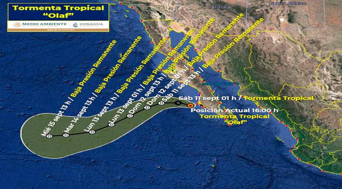 """Empieza a retirarse de BCS la tormenta tropical """"Olaf"""""""