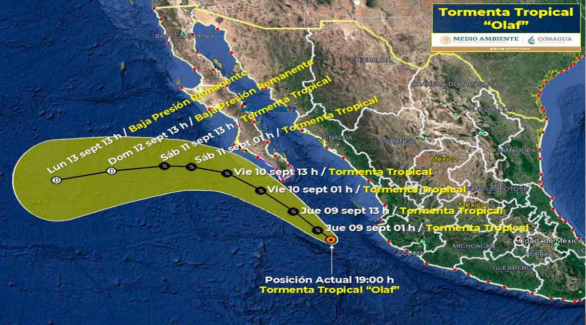 """Se acerca a 425 km de CSL la tormenta tropical """"Olaf"""""""