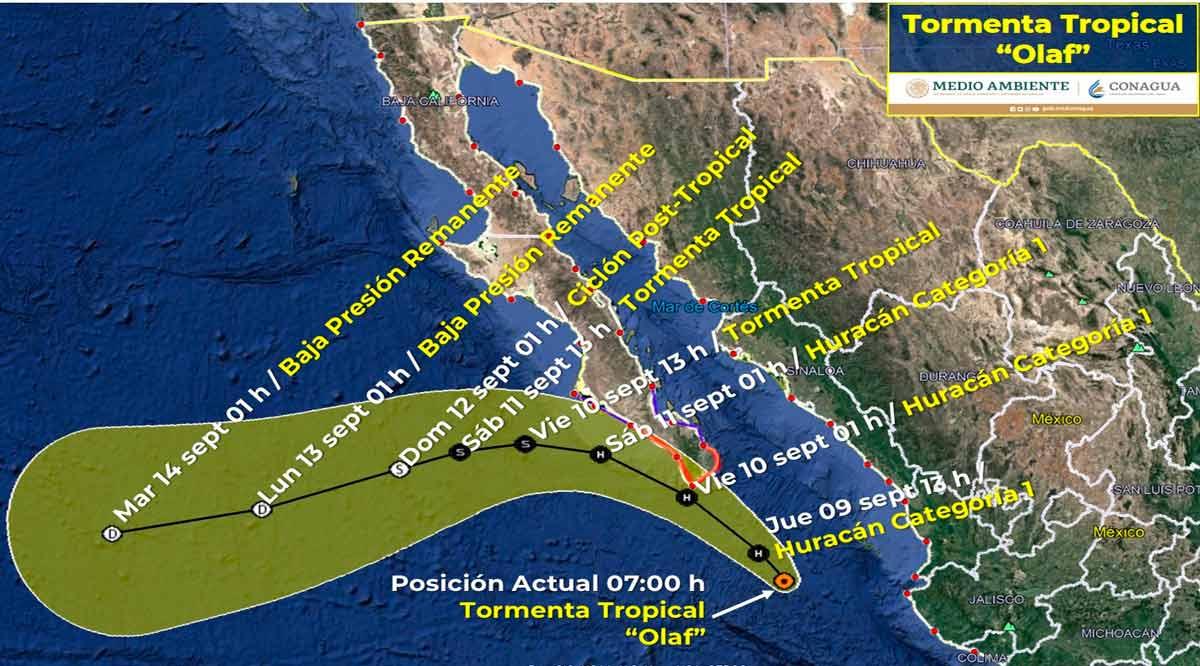 """Se ubica a 300 km de CSL la tormenta tropical """"Olaf"""""""