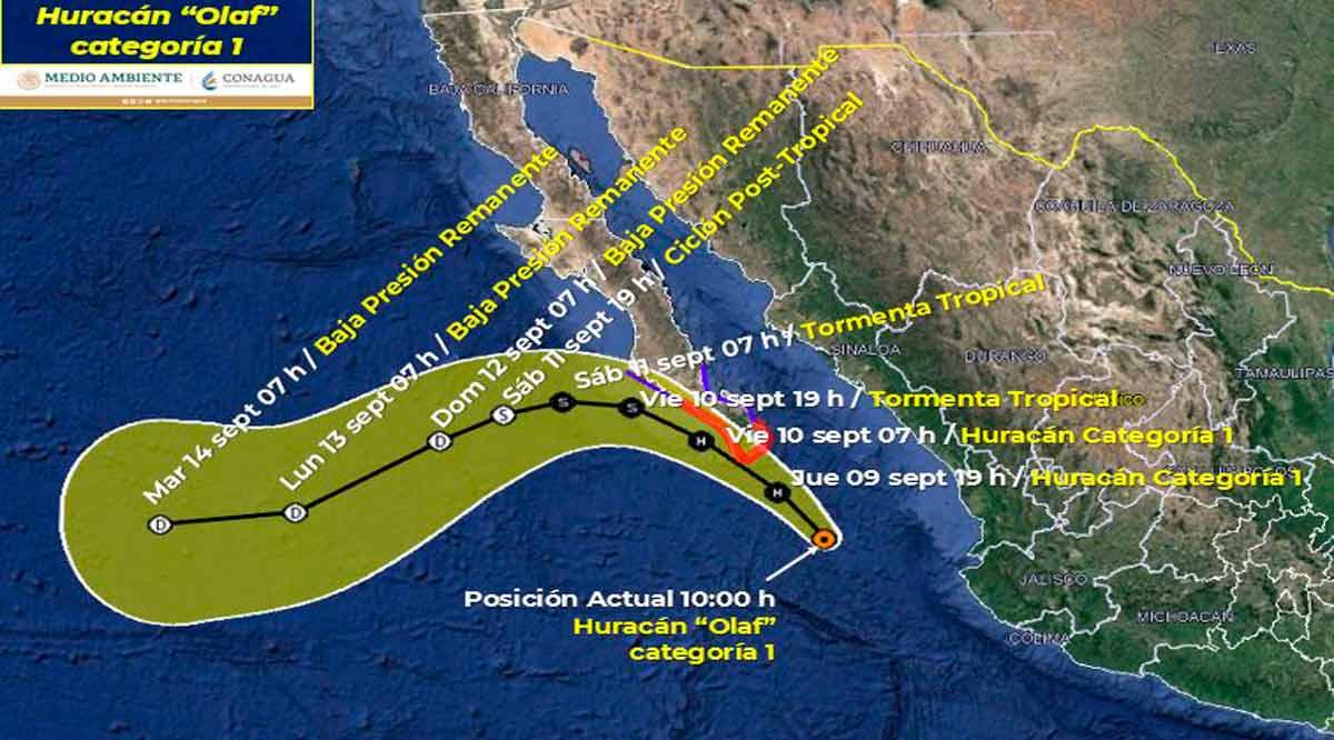 """Se convierte """"Olaf"""" en huracán categoría 1 y está a 250 km de CSL"""