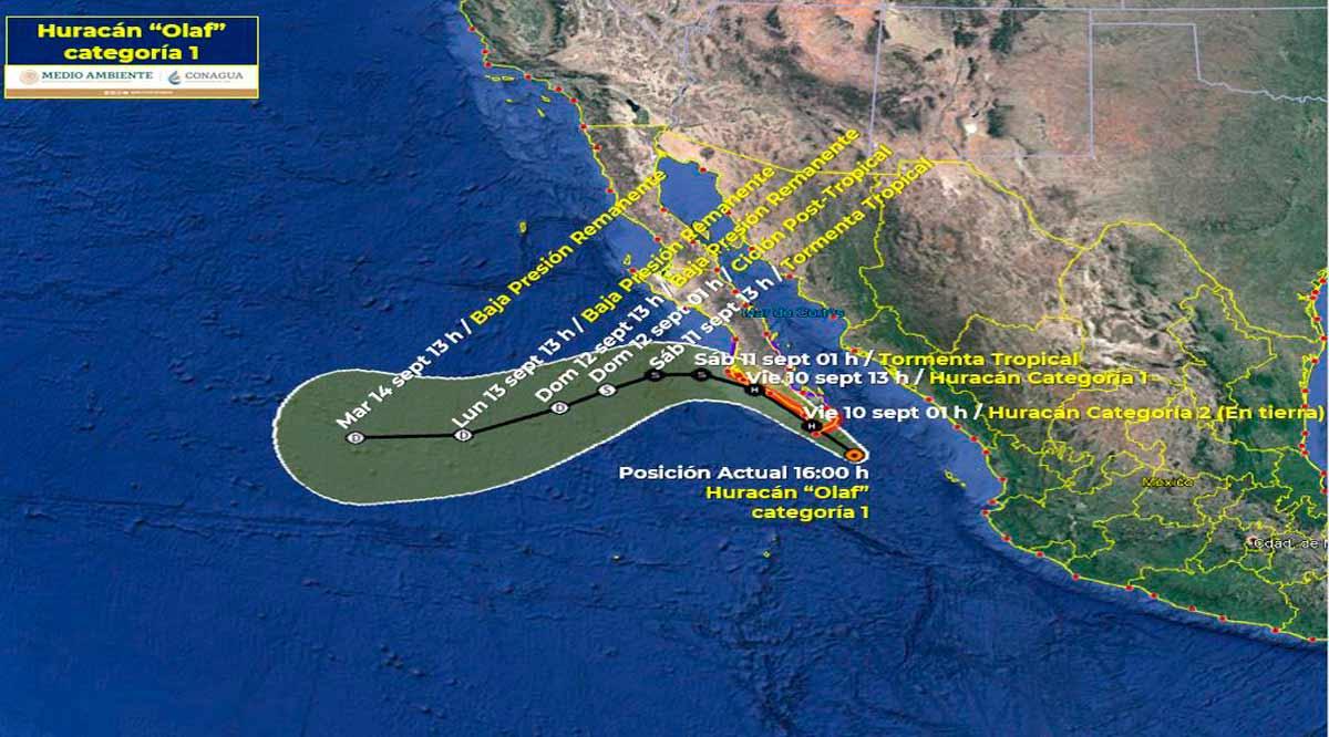 """Impactaría el huracán """"Olaf"""" como categoría 2 en Los Cabos"""