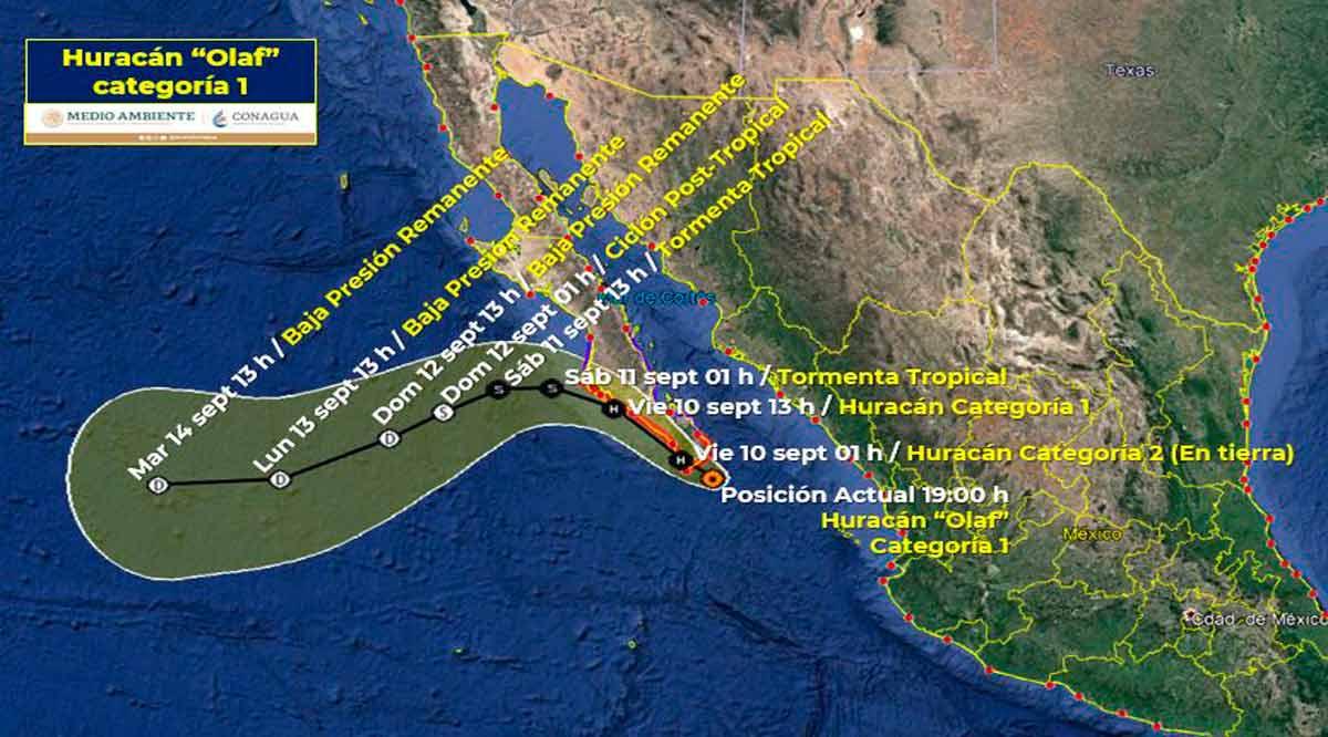 "Se ubica el huracán ""Olaf"" a 70 km de CSL"