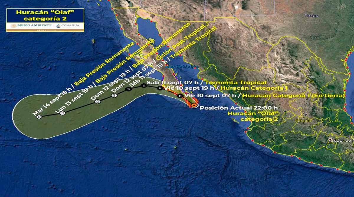 """Tocará tierra el huracán """"Olaf"""" como categoría 2 en las inmediaciones de SJC"""