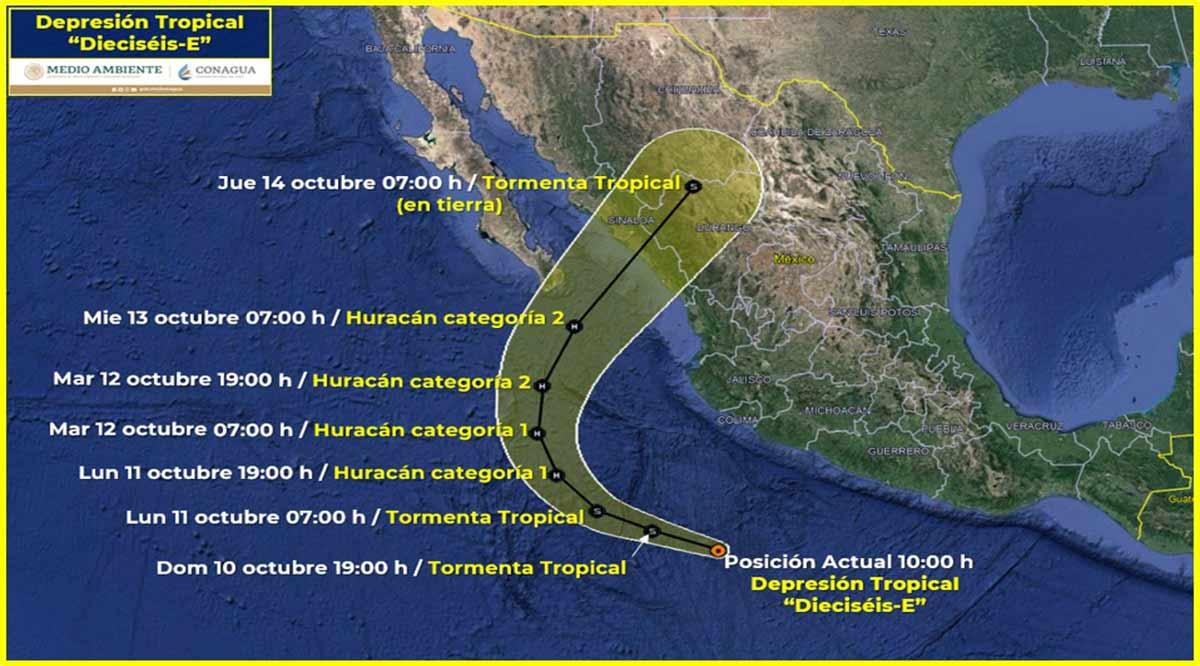 Se forma la depresión tropical 16-E