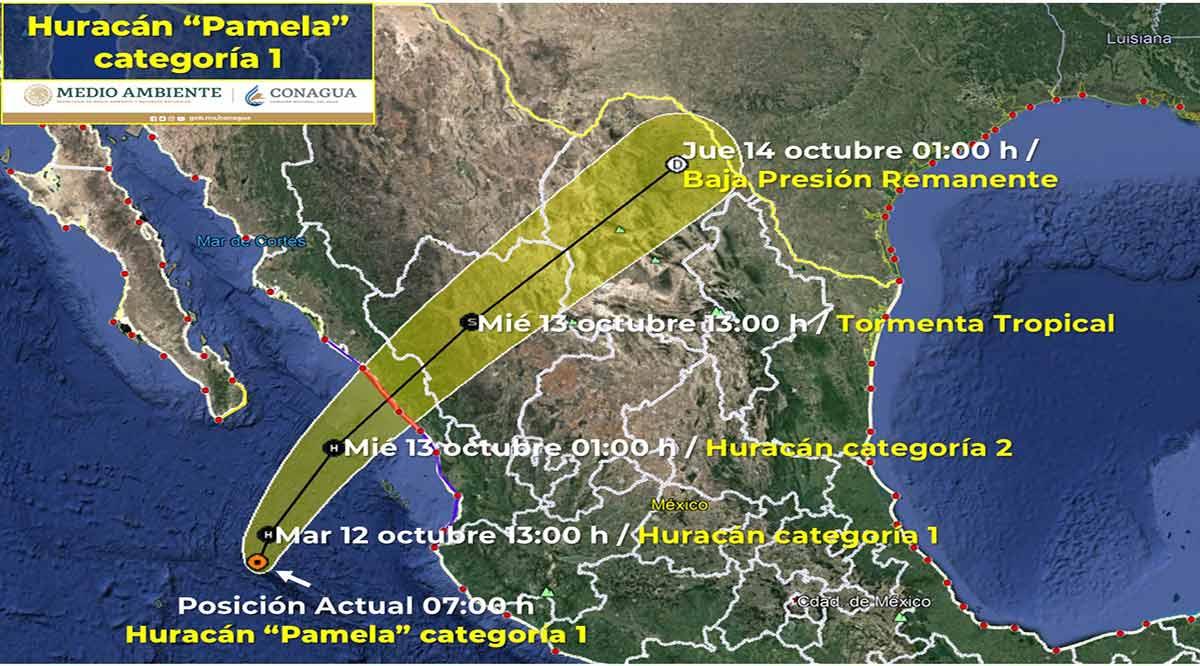 "Se ubica el huracán ""Pamela"" categoría 1 a 345 km de CSL"