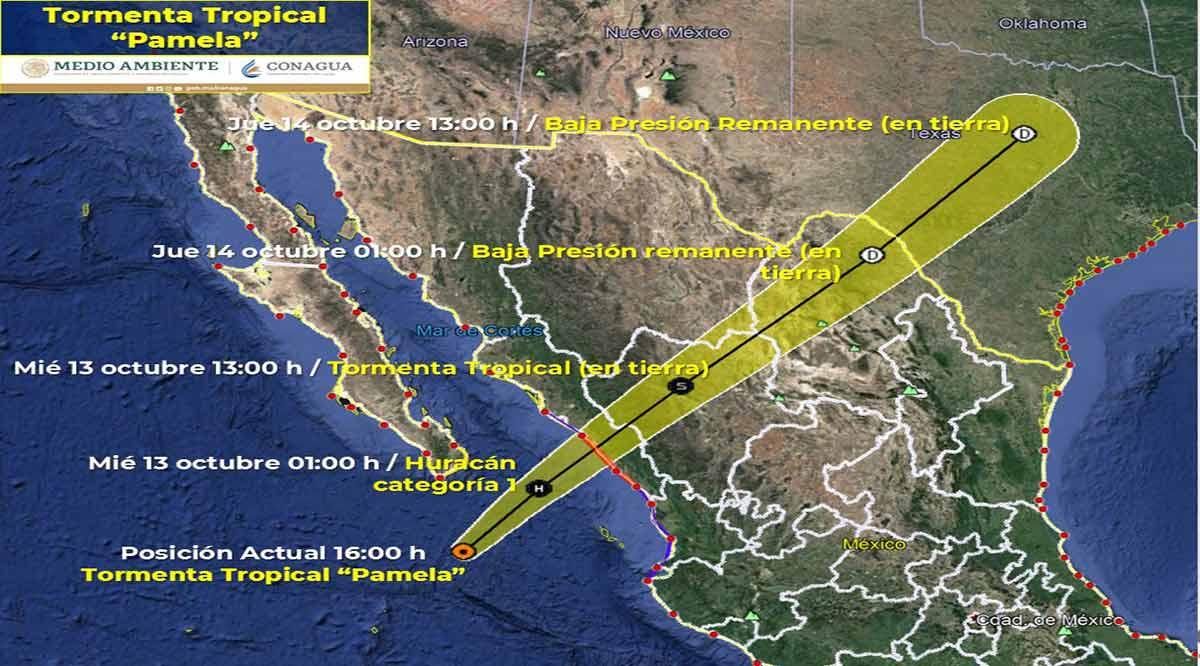 """Se ubica """"Pamela"""" a 220 km de CSL como tormenta tropical"""