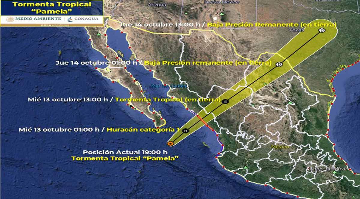 """Se ubica la tormenta tropical """"Pamela"""" a 185 km de CSL"""