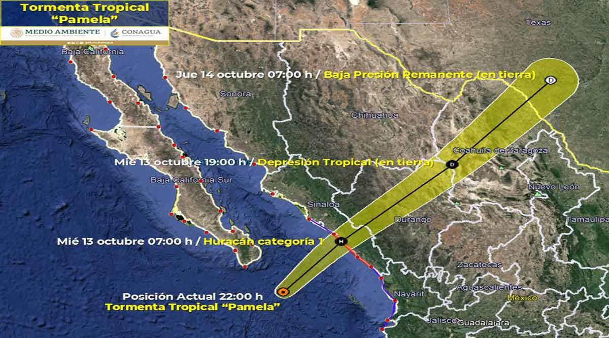 """Se ubica la tormenta tropical """"Pamela"""" a 165 km de CSL"""