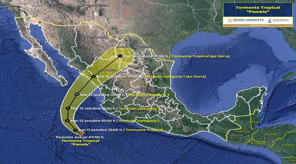 """""""Pamela"""" se ubica al suroeste de las costas de Jalisco"""